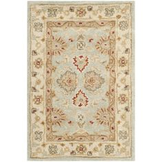 Beautify your home with this hand-knotted wool rug. It has a thick, dense pile that makes it comfortable to stand on, and its cotton-canvas backing ensures its durability. The Oriental rug has beige, red, and brown tones that are easy to match.