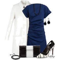"""Classy in Blue n' White"" by kginger on Polyvore"