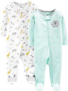 Simple Joys by Carter's Baby Neutral Cotton Footed Sleep and Play, stripes/animals green, Months Niñas Carters Baby, Baby Boy Pajamas, Storing Baby Clothes, Cute Baby Clothes, Babies Clothes, Baby Boutique Clothing, Play Clothing, Newborn Clothing, Clothing Sets