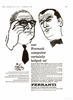 Ferranti Computer ad from 1961 Courtroom Sketch, New Scientist, Line Drawing, Ads, Humor, History, Retro, Memes, Drawings