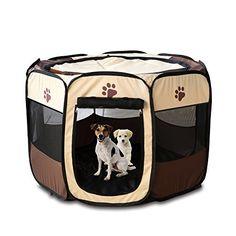 Yusenpet 28 Foldable Portable Pet Playpen Enclosures Exercise Pen Kennel Pet Yard 600D Oxford Cloth for DogCatRabbitPuppy 28x28x18H ** Visit the affiliate link Amazon.com on image for more details.
