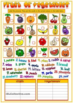 Fruit and vegetables - matching