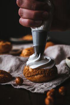 Caramelized Hazelnut and Toasted Marshmallow Cream Puffs — Vegan Dessert Recipes, Pastry Recipes, Baking Recipes, Profiteroles, Eclairs, Marshmallow Cream, Toasted Marshmallow, Fancy Desserts, Just Desserts