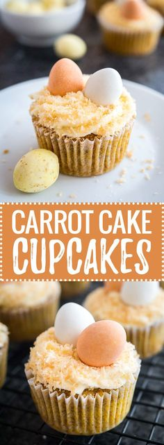 The best Carrot Cake Cupcakes with cream cheese frosting on top! These cute Easter cupcakes are perfectly moist, lightly spiced and so flavorful.