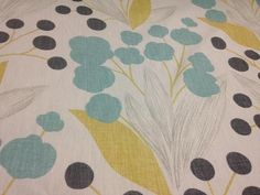 NEW Linen by the YARD- 16 Designs Available Yellow, Grey, & Turquoise Leaf Pattern