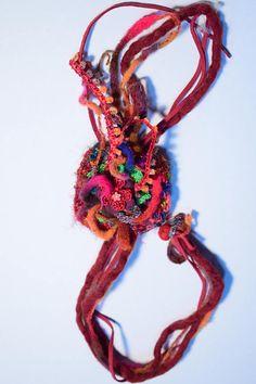 Christmas Boho ethnic necklace fabric felt with ribbons gift