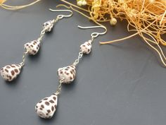 Hawaiian Hebrew Cone Shell HinaJwls Triple Dangle Earrings