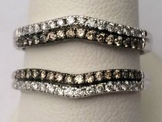 White Gold Solitaire Enhancer Champagne 14k White Diamonds Ring Guard Wrap inset #WithDiamonds