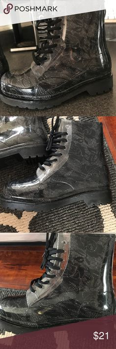 🖤 NWT JELLY COMBAT BOOTS WITH LACE DETAIL 🖤 🎁NEW..adorable jelly combat boots, lace design, pretty true to size, they say 7 but they feel almost like 7.5 H2K Shoes Combat & Moto Boots