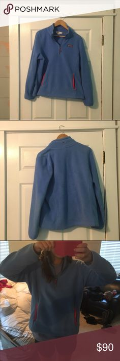 Vineyard Vines Fleece Pullover Blue fleece pullover worn only once. It's a size XL, so it has an oversized fit, but it's not long. I normally wear a small, and I certainly don't drown in this. Price is semi negotiable. Trying to sell this jacket, but it's in perfect condition and just like new!! Absolutely no trades. Vineyard Vines Jackets & Coats
