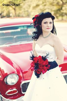 A Hot Rod 55 Chevy and a beautiful bride.