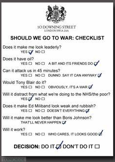 David Cameron's 'Go to War' check-list: