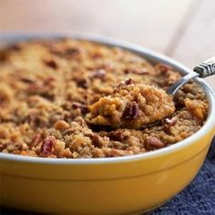 Streuseled Sweet Potato Casserole - Our Best Side Dish Recipes - Cooking Light Good Sweet Potato Recipe, Sweet Potato Pecan, Sweet Potato Casserole, Sweet Potato Recipes, Potato Caserole, Thanksgiving Side Dishes, Thanksgiving Recipes, Holiday Recipes, Thanksgiving Feast