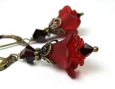 Lucite Flower Earrings Garnet Burgundy Wine by jewelrybyNaLa, $23.00