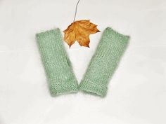 Green mohair mittens warm and cosy mint green tea. by Alvecote1
