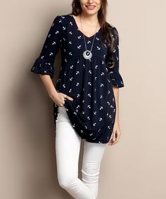 Another great find on #zulily! Navy Anchor Empire-Waist Puff-Sleeve Tunic - Plus by Reborn Collection #zulilyfinds