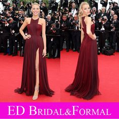 2014 Cannes Festival Blake Lively Red Carpet Dress Halter Two Tone Burgundy Pleated Chiffon Prom Dress Celebrity Evening Gown