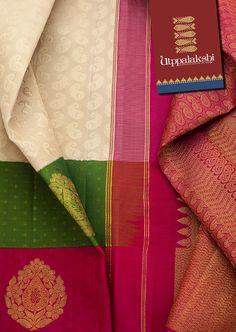 The double bordered - green and pink - and the pallu have a good representation of beautiful golden zari work. #Utppalakshi #Silksaree#Kancheevaramsilksaree#Kanchipuramsilks #Ethinc#Indian #traditional #dress#wedding #silk #saree #weaving#Chennai #boutique #vibrant#exquisit#weddingsaree#sareedesign #colorful #vivid #indian #southindian #bridal #festival #sophistication   https://www.facebook.com/Utppalakshi/   Contact: 097899 37149