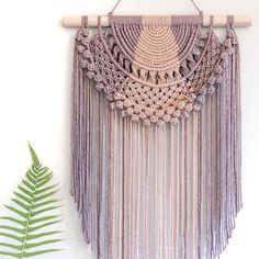 Totally smitten by this goddess-like piece by Sofie at That's nude and storm string juxtaposed. It's so interesting to me… Macrame Wall Hanging Patterns, Weaving Wall Hanging, Large Macrame Wall Hanging, Macrame Patterns, Wall Hangings, Tapestry Bedding, Boho Tapestry, Macrame Projects, Crochet Projects