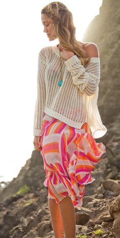 Style Tip: wear your bikini top with a loose knit sweater to create a boho chic look #DAREYOURSELF