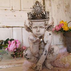 Cherub statue embellished ornate handmade by AnitaSperoDesign