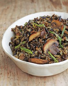 Wild Rice with Balsamic Mushrooms | Martha Stewart Living - The mushrooms add a sweet, tart meatiness to this heart-healthy rice side.