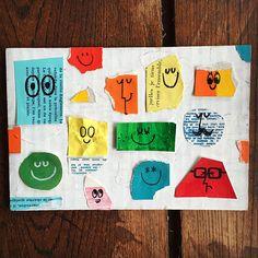 Drawing Wonder • 本日のイラストレーション〜。 紙の切れ端を集めてみたら とてもいい感じだったので...