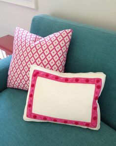 House of Turquoise: Guest Blogger: Kathleen of Kathleen DiPaolo Designs  I love the OOMPH pillow with the Pom Poms!!