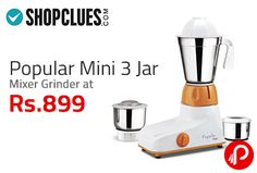 Shopclues Big Sales offers Popular Mini 3 Jar Mixer Grinder. Shopclues Coupon Code – SCVSSDA14  http://www.paisebachaoindia.com/popular-mini-3-jar-mixer-grinder-at-rs-899-big-sales-shopclues/