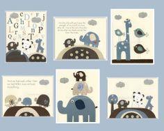 Kids Wall Art Nursery Art Print Baby Boy Nursery by DesignByMaya