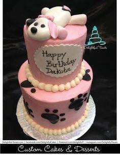 girl puppy cake