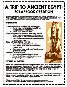 Great middle school social studies activity.  Ancient Egypt Scrapbook