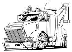 Car Drawing Pencil, Cartoon Car Drawing, Cartoon Art, Truck Coloring Pages, Cartoon Coloring Pages, Tow Truck, Big Trucks, Ed Roth Art, Outline Pictures