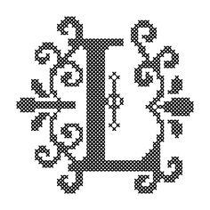 Letter L Cross Stitch/Cross Stitch Monogram/Cross
