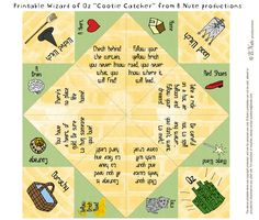 Wizard of Oz Printables | Free Printable Wizard of Oz Cootie Catcher/Fortune Teller by B.Nute ...