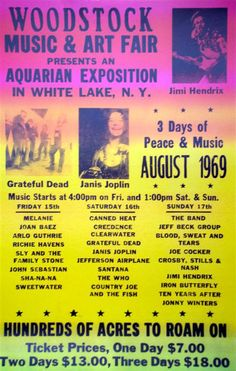 Woodstock poster The first Outdoor music festival dedicated to Free Love, At first it was supposed to be small but ended up being huge. 1969 Woodstock, Woodstock Festival, Woodstock Poster, Woodstock Music, Musikfestival Poster, Hippie Movement, Vintage Concert Posters, Rock Festivals, Music Festivals