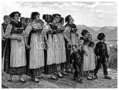 A Group Of Peasant Women And Children Fiddler On The