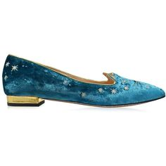 Charlotte Olympia Shoes Mid-Century Kitty Hydrogen Blue Velvet Pointy... ($600) ❤ liked on Polyvore featuring shoes, flats, blue, pointy-toe flats, charlotte olympia flats, pointed-toe flats, flat pointy shoes and pointed flat shoes