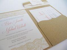 Rustic Wedding Invitation Pocketfold Suite by JutingDesignStudio