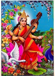 Prints, Posters & Paintings, Hinduism, Religion & Spirituality, Collectibles Page 31 Saraswati Mata, Saraswati Statue, Saraswati Goddess, Mother Goddess, Goddess Lakshmi, Saraswati Painting, Ganesha Painting, Shiva Hindu, Hindu Deities