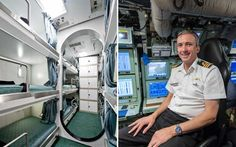 The crew's quarter (left) - there are a maximum of 22 bunks per cabin, each man has a bunk, a locker and a curtain. The only man to have his own cabin the captain, Cmdr Peter Green (right), pictured on his seat in the control room.