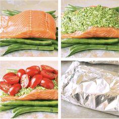 Salto pesto in foil, step by step recipe Weigth Watchers, Good Food, Yummy Food, Pesto Recipe, Ciabatta, Ravioli, Fresh Rolls, Cooking Time, Low Carb Recipes