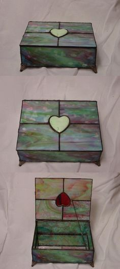 Stained Glass Box made with Bullseye glass and accented with a hand finished Chrysoprase heart. The inside of the bottom of the box is set with regular mirror. Stained Glass Designs, Stained Glass Panels, Stained Glass Projects, Stained Glass Patterns, Leaded Glass, Mosaic Patterns, Stained Glass Art, Mosaic Glass, Glass Jewelry Box