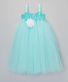 Love this Teal & White Flower Ruffle Tutu Dress - Girls by Inspiration Group on #zulily! #zulilyfinds