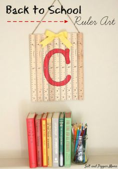 repurposed ruler art teacher gift idea, crafts, how to, repurposing upcycling, wall decor Back to School Ruler Art - Teacher Gift Idea - Need an idea for a back to school gift for teachers? Or maybe you want to decorate your house for the first month Fun Craft, Craft Gifts, Diy Gifts, Handmade Gifts, Back To School Gifts For Teachers, School Staff, School Days, Sunday School, Gift Ideas For Teachers