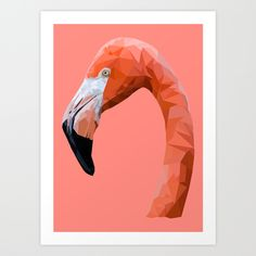 Flamingo Art Print by peachandguava - X-Small Polygon Art, New Media Art, Flamingo Art, Mother Of Dragons, Wildlife Art, Types Of Art, Medium Art, Graphic Art, Illustration Art