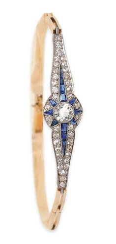 Elegant Art-déco diamond sapphire bracelet C. 1930. - pinterest.com/allerius - Women's Fashion