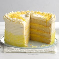 Lemon Ricotta Cake ~ This recipe is a family gem that was passed down from my grandmother and mother. Garnished with shaved lemon zest, the moist four-layer cake is the perfect dessert when you want to impress. Lemon Ricotta Cake, Two Layer Cakes, Take The Cake, Lemon Desserts, Delicious Desserts, Let Them Eat Cake, Cake Recipes, Lemon Recipes, Tea Recipes