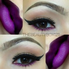 """Purple details?? Lashes are """"Ravished"""" by @alashlashes, I used Mac magenta lip liner & a NYX purple shadow for the lower lash line, ? combo is Mac Nightmoth + …"""