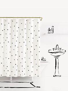 Deco Dot Shower Curtain, Black/white